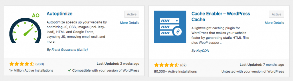 Autooptimize and Cache Enabler WordPress plugins for speed