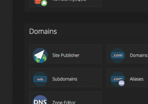 Site Publisher option available inside AccelerHosting's cPanel Accelerated.